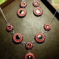 S17 - Cabochon FIMO + Cabochon cristal rosu + Margele sticla 4&3&2mm - Argint 925 - 90 lei