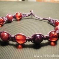 B26E - Margele acrilice rosii + Perle sticla roz&mov 6 mm - 8 lei