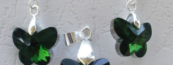 SetFluture2+-+Cristal+sticla+15mm+++Elemente+metalice+argintate+-+20+ron