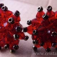 Cercei Arici - 17 lei - placati cu argint + cristale biconice + margele sticla