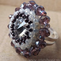 Inel Cabochon Swarovski - 27 lei - margele cristal abacus + Rivoli Swarovski + margele sticla + elemente metalice nichelate