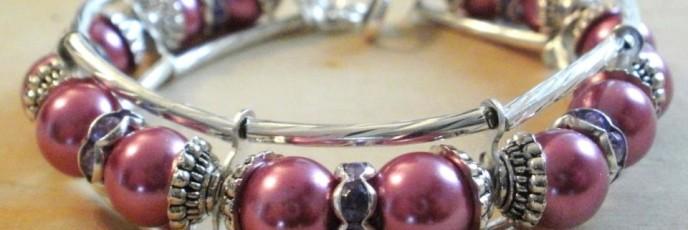B28 - Perle sticla roz + Rhinestone ametist - Insertii metaliice argint tibetan - 20 lei