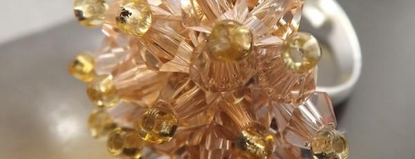 Inel Arici - 15 lei - placati cu argint + cristale biconice + margele sticla