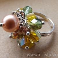 Inel+Cristal+Bunch+-+27+lei+-+placat+cu+argint+++perle+Swarovski+++cristale+Swarovski+++cristale+Cehia+Firepolish
