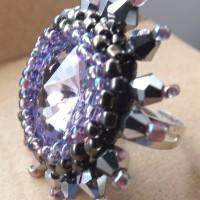 Inel Cabochon Acril - 12 lei - elemente metalice nichelate + margele sticla + Cristale biconice